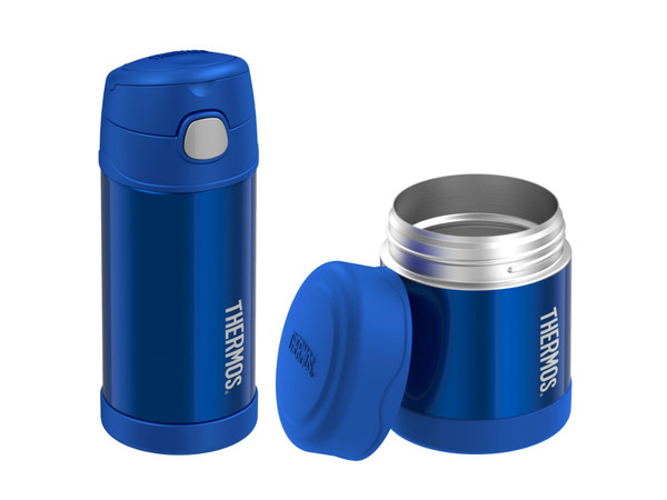 Dětský set Thermos FUNtainer metalicky modrá termoska na pití a na jídlo 868e7aa3400